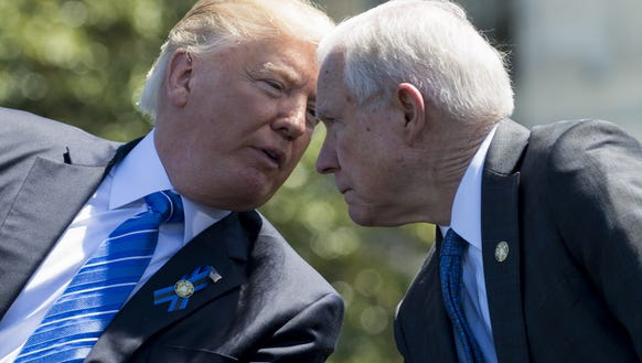President Trump speaks with Attorney General Jeff Sessions