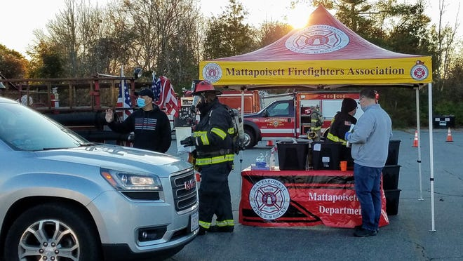 Mattapoisett Police and Fire & Rescue came through for the kiddies, providing Halloween treats for the trick or treaters.