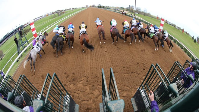 The start of the Breeders' Cup Sprint at Keeneland. Oct. 31, 2015