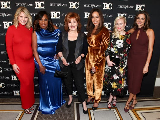 Sara Haines, Star Jones, Joy Behar, Sunny Hostin, Meghan McCain and Paula Faris pose in New York on Oct. 16, 2017.