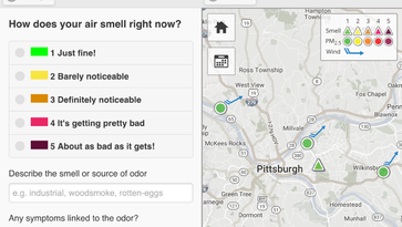 Nov. 2 was a bad day for odors in Pittsburgh as shown by the Smell PGH app.