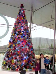 This Christmas tree made entirely of glass ornaments will be on display at the Corning Museum of Glass until Sunday.