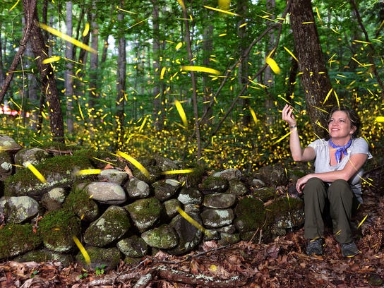 Rob Taylor photographed his wife, Shannon, interacting with synchronous fireflies in 2016 at Elkmont in the Great Smoky Mountains National Park.