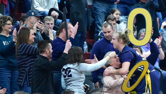 Fans applaud Greencastle's Bryan Gembe's 1000 career point. Shippensburg took on Greencastle, Tuesday, January 30, 2018. The Blue Devil's won 59-58.