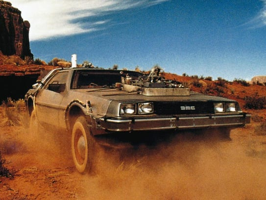 The time traveling Delorean  lands in Monument Valley