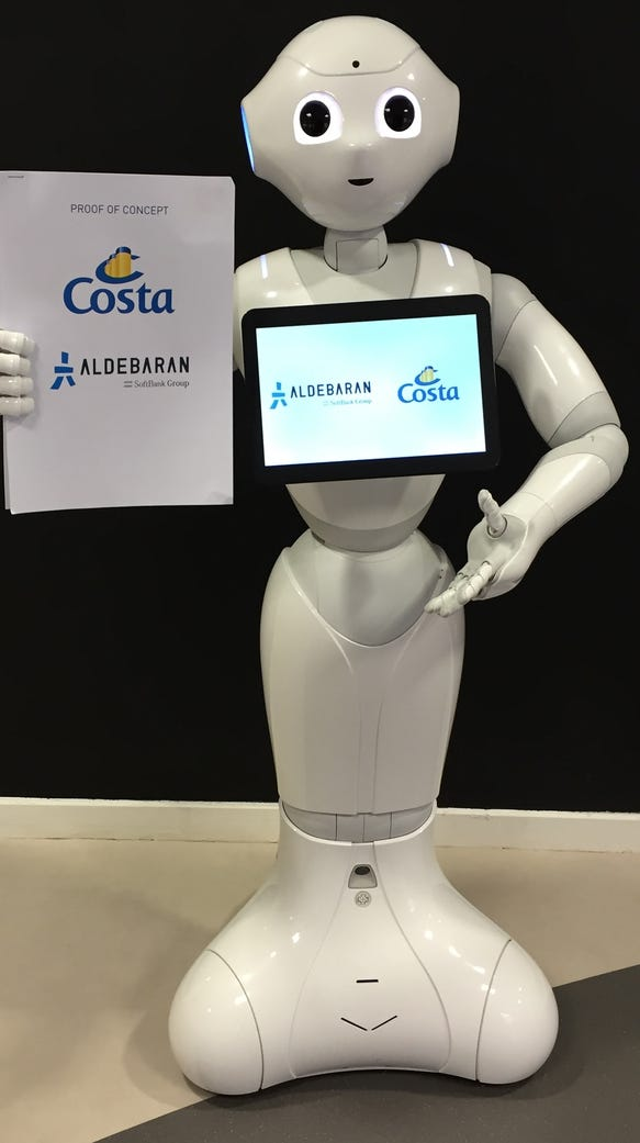 Pepper, the robot greeter Costa Cruises will be debuting