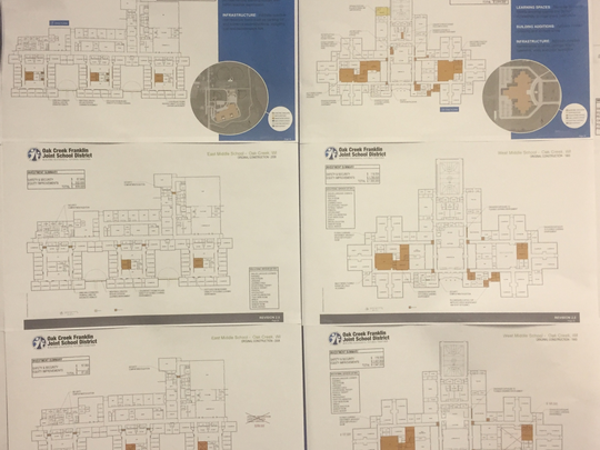 Site plans for the districts two middles schools, East and West Middle School. An original plan shows building a practice soccer field at West Middle School, which was not included in the administration's recommended plans.
