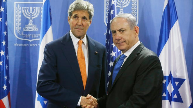 U.S. Secretary of State John Kerry meets with Israeli Prime Minister Benjamin Netanyahu in Tel Aviv, Israel, Wednesday. Kerry is meeting with United Nations Secretary-General Ban Ki-moon, Netanyahu and Palestinian Authority President Mahmoud Abbas as efforts for a cease-fire between Hamas and Israel continues.