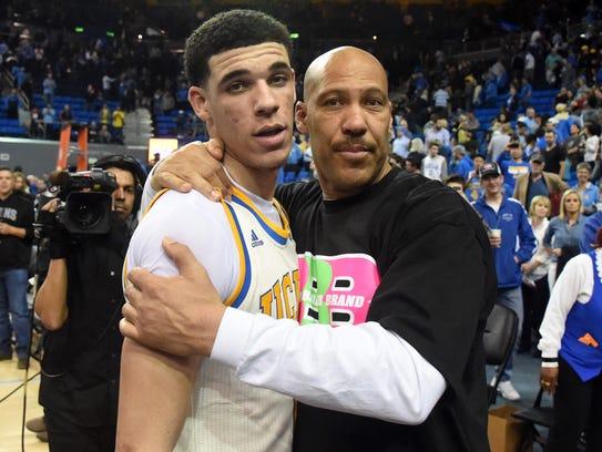 LaVar Ball embraces his eldest son, UCLA Bruins guard