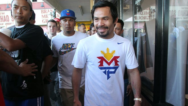 Superstar Manny Pacquiao trains at the Wild Card Boxing Club Saturday for his upcoming welterweight mega-fight vs. Floyd Mayweather.     2015