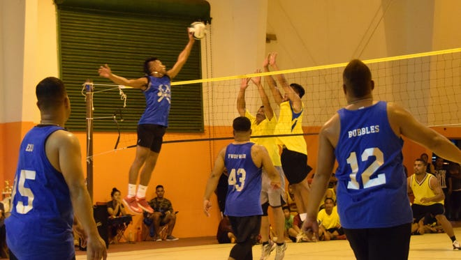 The FAS Volleyball League Invitational came to a close on July 23. Team Hammers defeated team Paata to take the boys championship title. Vid Jones jumps high for the kill.