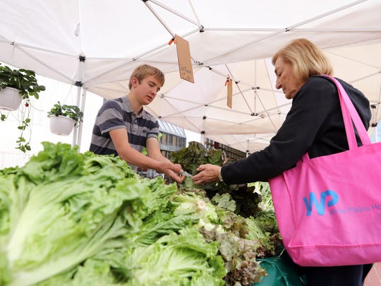 Judi Sternberg of White Plains buys green leaf lettuce from Andrew Wengerd of Rolling Ridge Farms in Mifflinburg, PA, at the White Plains farmers market May 16, 2018.