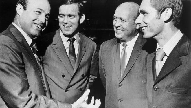The subject was baseball when Joe Garagiola (left), Tim McCarver, Marv Throneberry and Bud Harrelson got together at the Holiday Inn Rivermont on October 22, 1969.