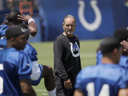 Indianapolis Colts head coach Chuck Pagano during drills on the first day of practice at the Indianapolis Colts NFL training camp Tuesday, July 27, 2016, morning at Anderson University in Anderson IN.