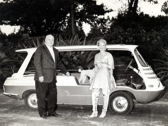 Ralph Evinrude and Frances Langford with her 1957 Fiat Marinella, Franny L
