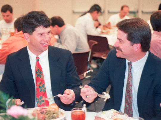 University of Tennessee athlete Todd Helton, left, and his father, Jerry, enjoy a luncheon where Helton was honored as state player of the year on Feb. 6, 1993.  (News Sentinel Archive)