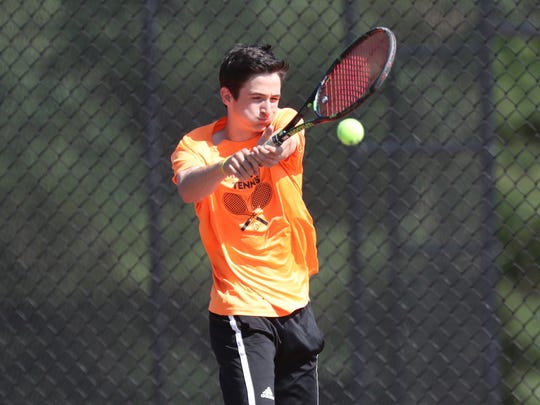 Mamaroneck's Connor Aylett competes in the boys tennis