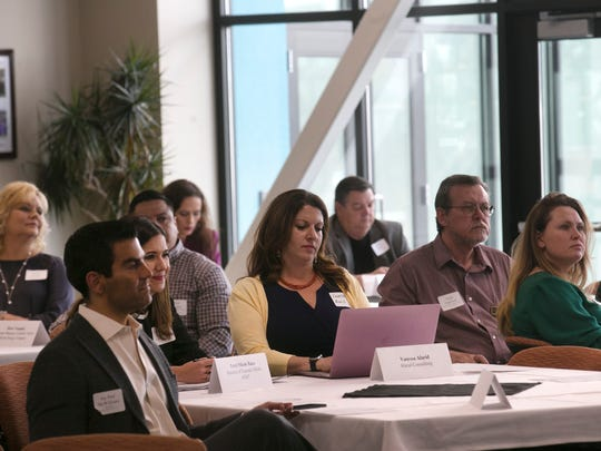 Community members and local business leaders participate Wednesday in a Job Creation Listening Tour stop at San Juan College.