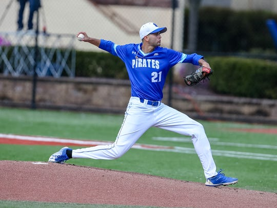 Billy Layne Jr. pitches for Seton Hall University during