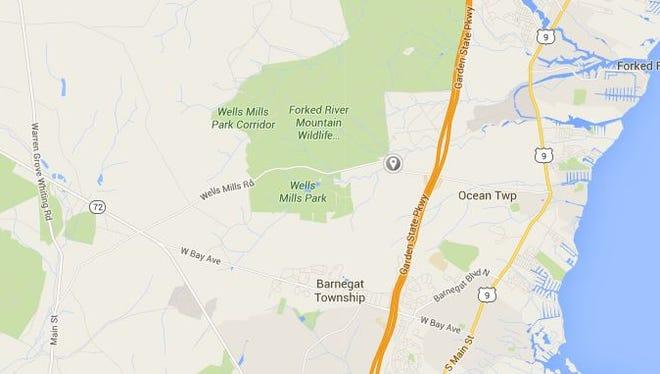 The gray drop pin marks the location of Daniels Bridge on Route 532 (Wells Mills Road) in Waretown (Ocean Township, Ocean County).