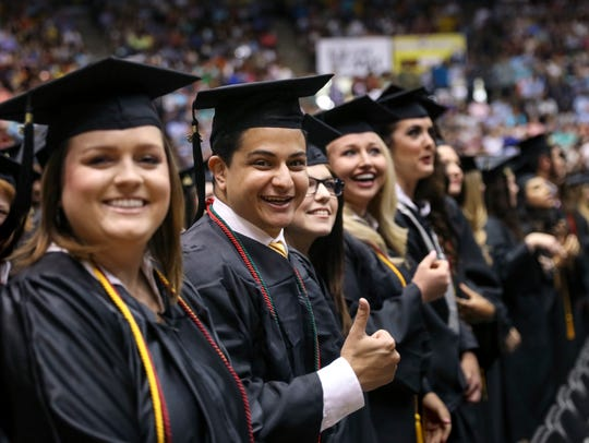 Members of ULM's Class of 2016 celebrate at the spring