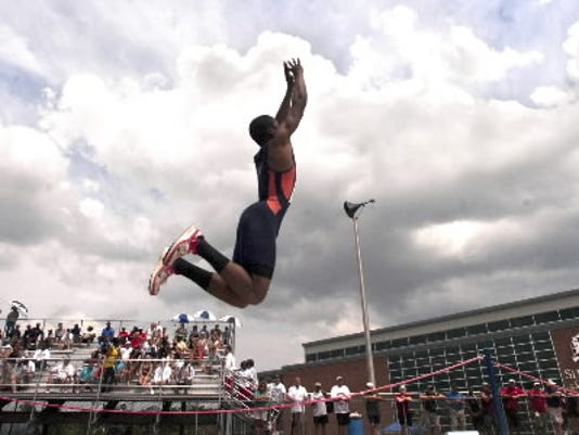 William Penn's Jarred Posey jumps during the PIAA Track and Field Championships last spring.