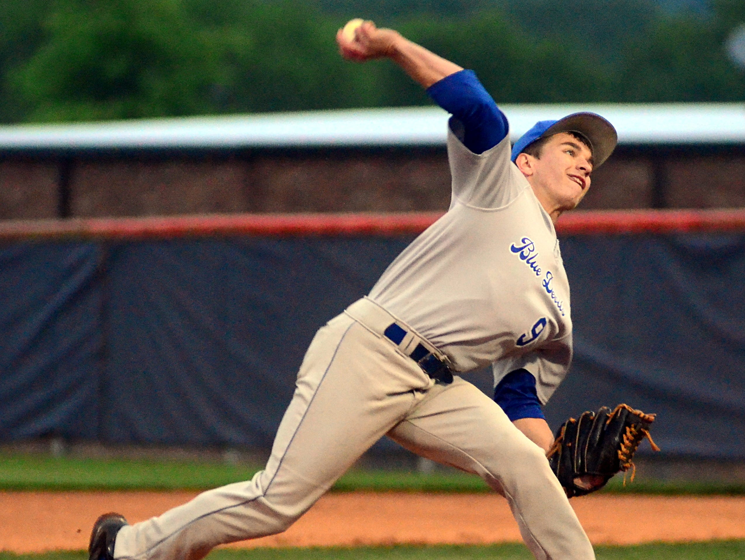 White House High junior Hunter Neumair delivers a first-inning pitch during Monday evening's contest at Beech.