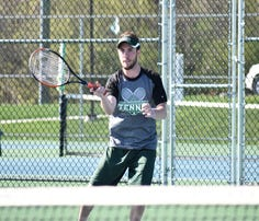 James Buchanan's Noah Shank hits the ball over the net during a No. 2 singles match against Bishop McDevitt in a Mid Penn Colonial Division match on Wednesday, Aptil 12, 2017.