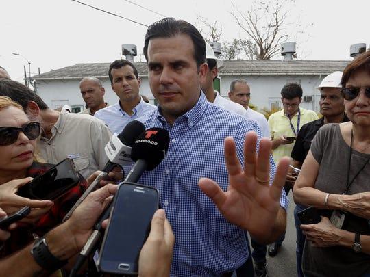 Puerto Rico Gov. Ricardo Rossello at a press conference