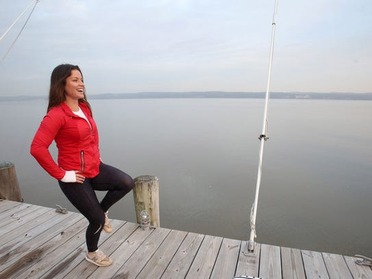 Camille Buford, a fitness expect works out on the Hudson