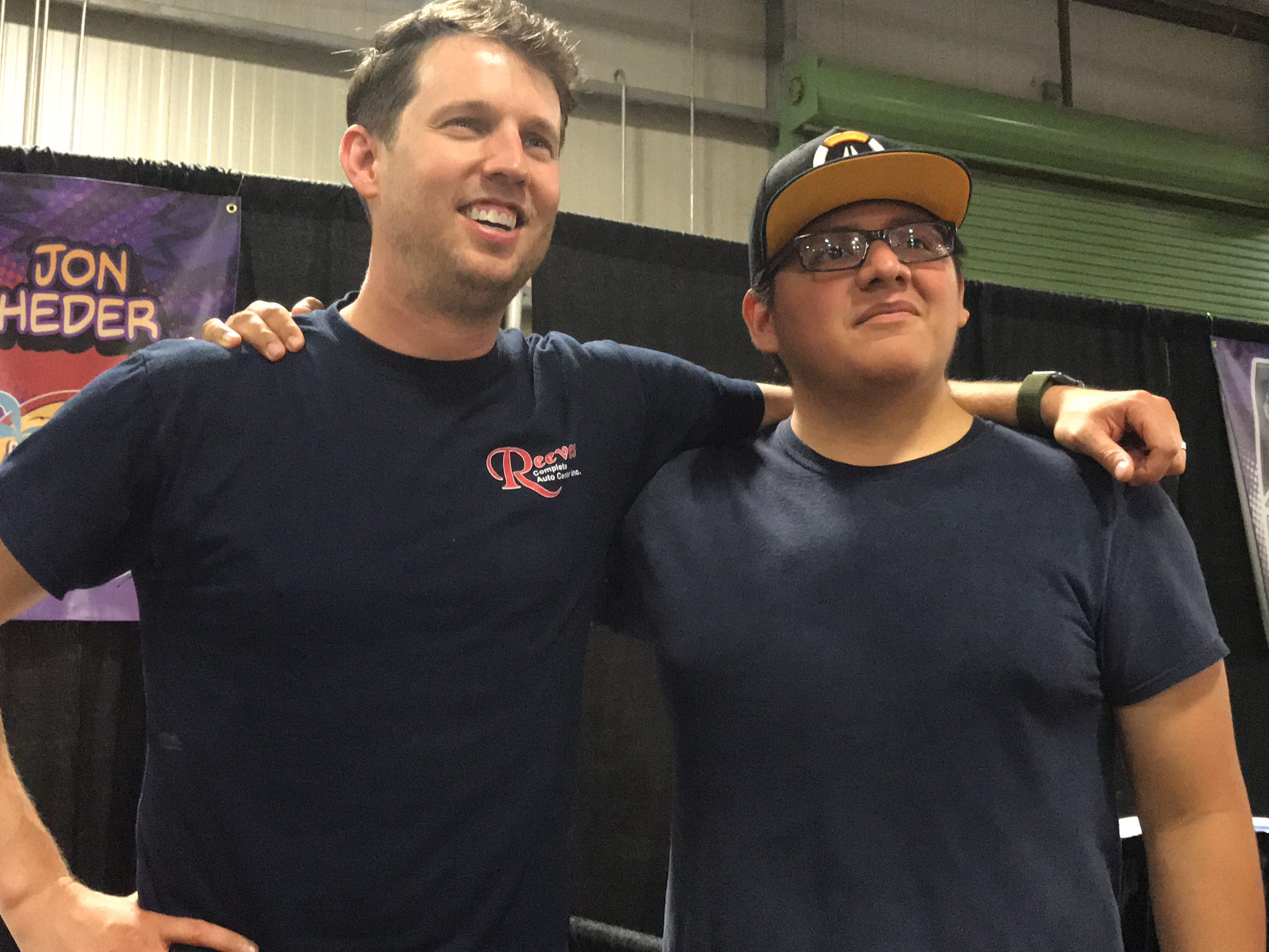 """Actor Jon Heder, best known for his role as """"Napoleon Dynamite,"""" poses with a fan at the second annual Corpus Christi Comic Con Saturday, June 23, 2018."""