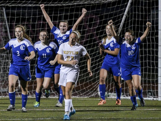 Cedar Crest's (l-r) Desiree Leffler, Carli Wasson, Madison Brown, Sam Gerhart, Alex Burrows and Cece Fiorentino react as the final horn of their 2-1 upset of Governor Mifflin sounds in the first round of the District Three Class AAA girls soccer tournament on Tuesday.