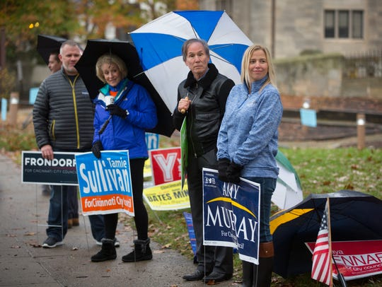 Campaign supporters on Election Day at Knox Presbyterian