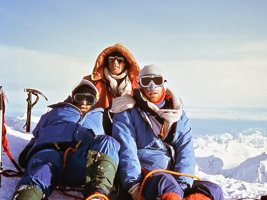 From l to r, Johnnie Williams, Scott Fisher and David Neitzel pose after reaching the summit of Denali in this photo from July, 1982.