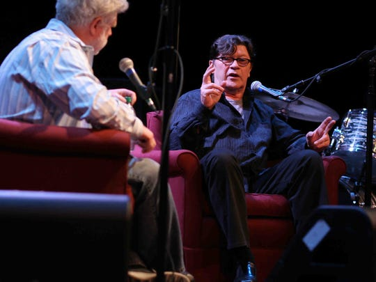 "David Dye interviews The Band's Robbie Robertson at World Cafe Live at the Queen in Wilmington during a ""World Cafe"" taping in 2011."