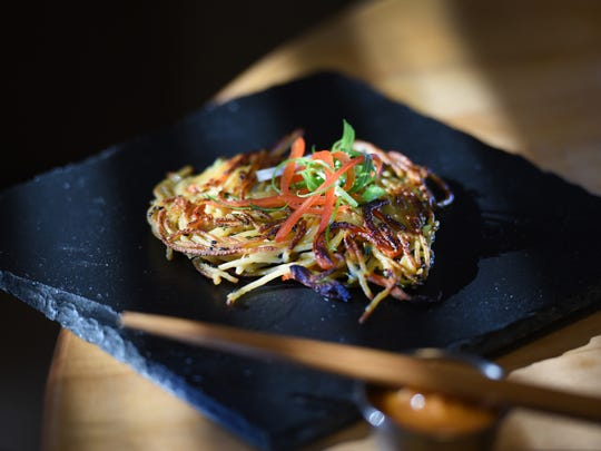 Photo of a Lo-Mein Latke prepared by Chef Casey, photographed at chef's home in Elmwood Park on Dec. 14, 2016.