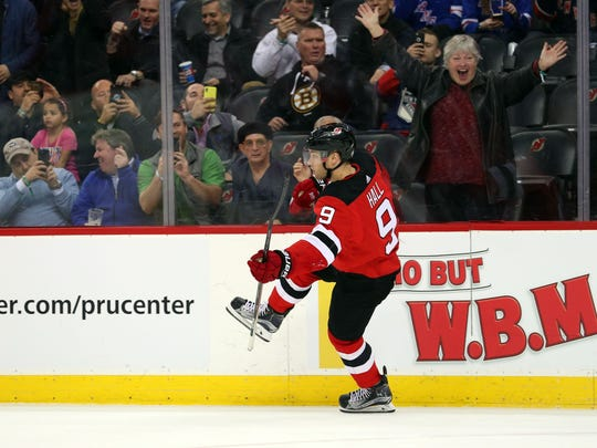 Apr 3, 2018; Newark, NJ, USA; New Jersey Devils left
