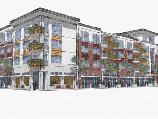 Developers Hugh Simpson and Joe Wagman want to build up to 42 apartments at the Northwest Triangle.