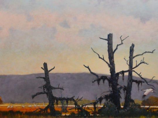 """Reunion at Louisville Ponds, Whooping Crane,"" by DeVere Burt."