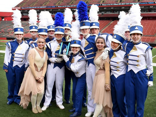 Westfield High School School Marching Band Section Leaders celebrate their third-place finish at the New Jersey State Championships held at Rutgers University on  Oct. 31.  Thank you,