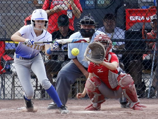 Maine-Endwell's Melissa Demo bunts Saturday during the Class A state final against Williamsville East at Moreau Recreational Park in South Glens Falls.