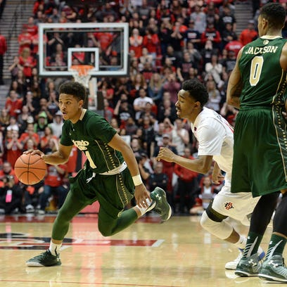 CSU's Prentiss Nixon drives past San Diego State's Jeremy Hemsley during Tuesday night's game in San Diego. Nixon, a freshman, scored 15 points while making his first start at point guard.