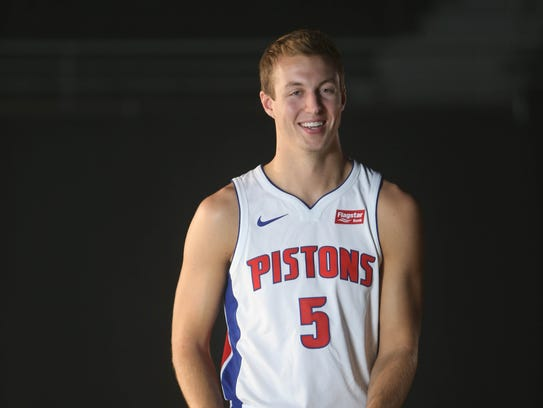 Pistons' Luke Kennard is photographed at media day