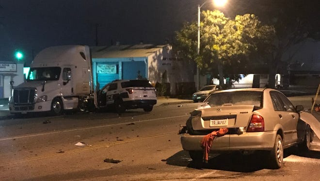 A Port Hueneme man was seriously injured in a crash involving an Oxnard police officer early Saturday, officials said.