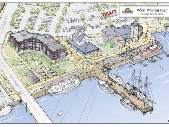 Conceptual drawing for waterfront redevelopment project in Sturgeon Bay. According to city officials, the hotel, brown building to the left, is placed behind the ordinary high-water mark of Lake Michigan.