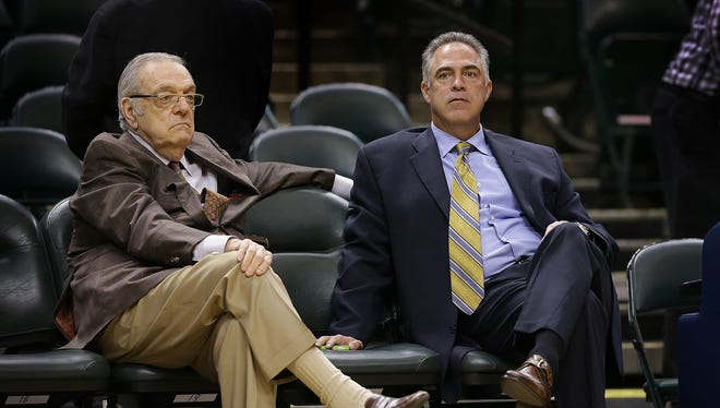 Indiana Pacers advisor Donnie Walsh talks with general manager Kevin Pritchard,right, as the Pacers warm up before their game against the Toronto Raptors Tuesday, April 4, 2016, evening at Bankers Life Fieldhouse.