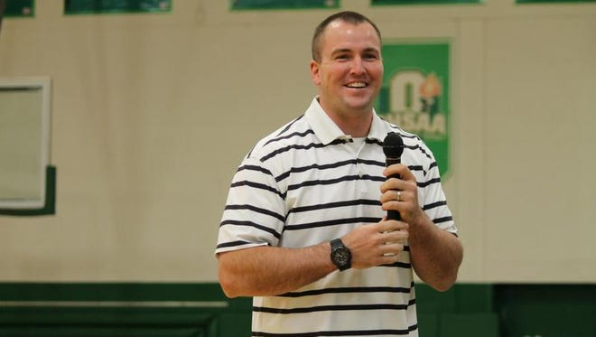 Ben Hartsock, seen here speaking to Huntington High School students earlier this year, is now a member of the New England Patriots.