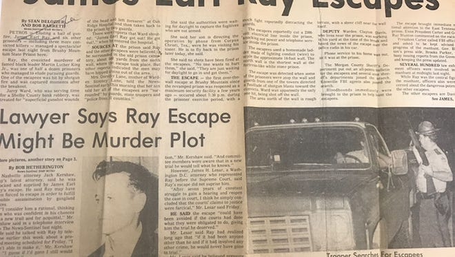 Newspaper clipping from June 1977 detailing the news of James Ear Ray's escape from Brushy Mountain State Penitentiary.