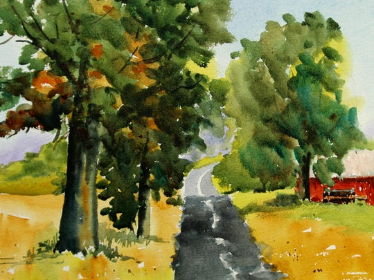 """Hillcrest Road,"" watercolor by Keary Kautzer"