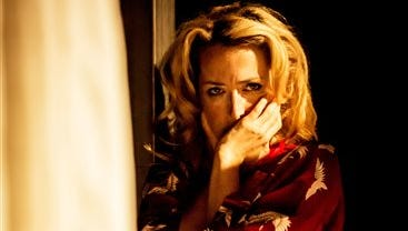 """This undated image released by Boneau/Bryan-Brown shows actress Gillian Anderson during a London production of """"A Streetcar Named Desire."""" Starting Tuesday, Fathom Events, National Theatre Live and BY Experience will broadcast to movie theaters worldwide the fresh, critically cheered take on Tennessee Williams? classic tale from London?s Young Vic Theatre. Anderson, who plays Williams' legendary desperate Southern belle Blanche DuBois, is joined by Ben Foster as Stanley, her lower-class nemesis, and Vanessa Kirby as his suffering wife."""